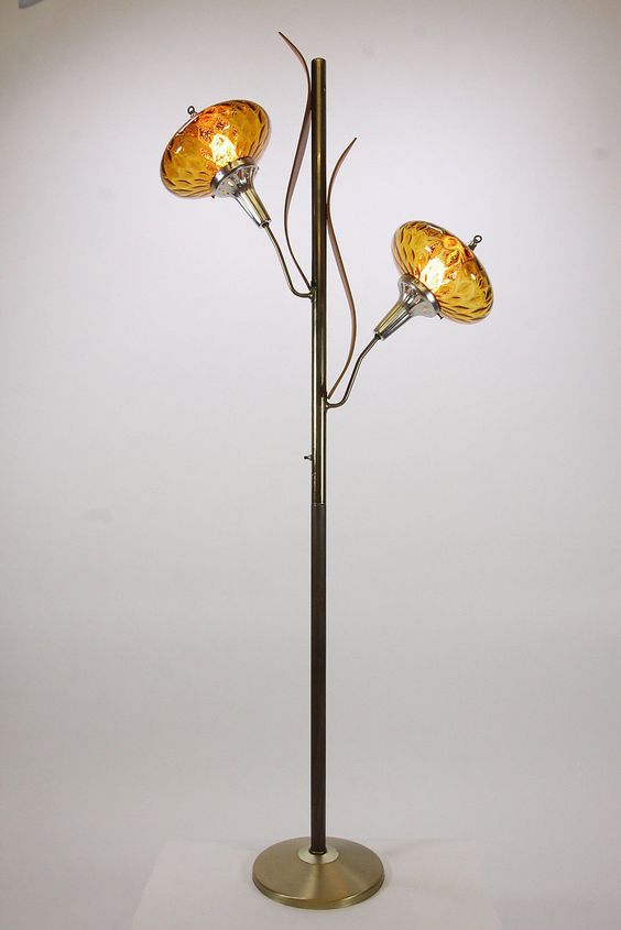 Cattail Floral Floor Lamp Mid Century Modern Amber Shades Metal Light Diffusers