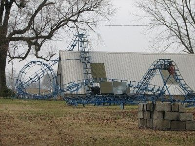 Backyard roller coaster is an Indiana oddity. You can see the coaster from the southbound lanes of U.S. Highway 41 in Bruceville, Indiana (just north of Vincennes) but if you want a ride on the Blue Flash you'll have to knock on the front door and ask very nicely.: