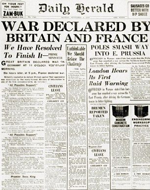 Newspaper headlines as Britain and France went to war with Germany 100 years ago...
