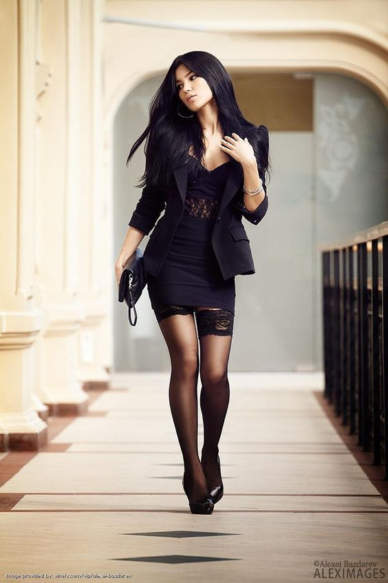 Svetlana Bilyalova hot stockings black lace tight dress short