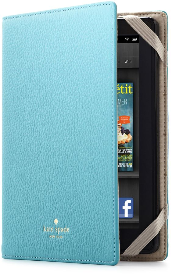 Amazon.com: kate spade new york Pebbled Leather Kindle Fire Case Cover, Aqua (will not fit HD or HDX models): Kindle Store