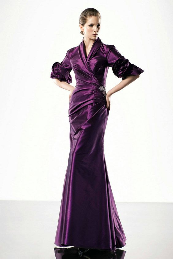 Mermaid Grape Middle Sleeves Ruched Modest Stylish Evening Gowns ...