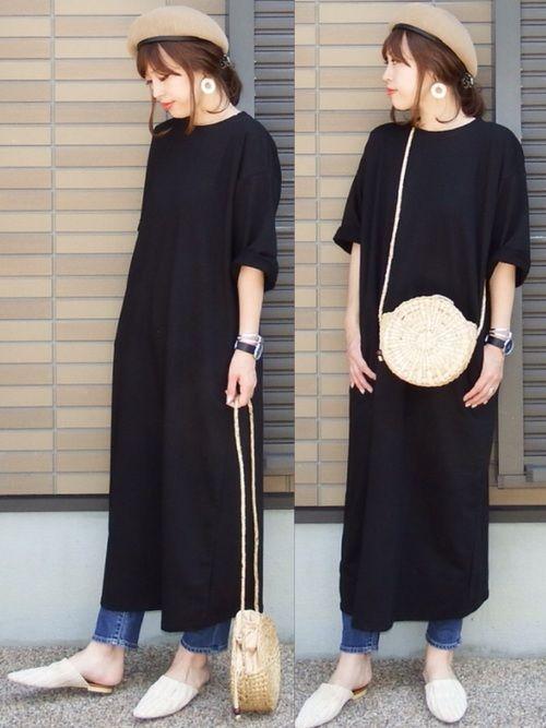 miho ニコ cocaのワンピースを使ったコーディネート wear ファッション スウェットワンピース ファッションコーディネート