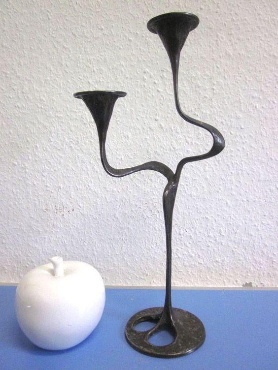 Grosser Kerzenleuchter Bronze Kandelaber im Jugendstil wohl 60er ausgefallen