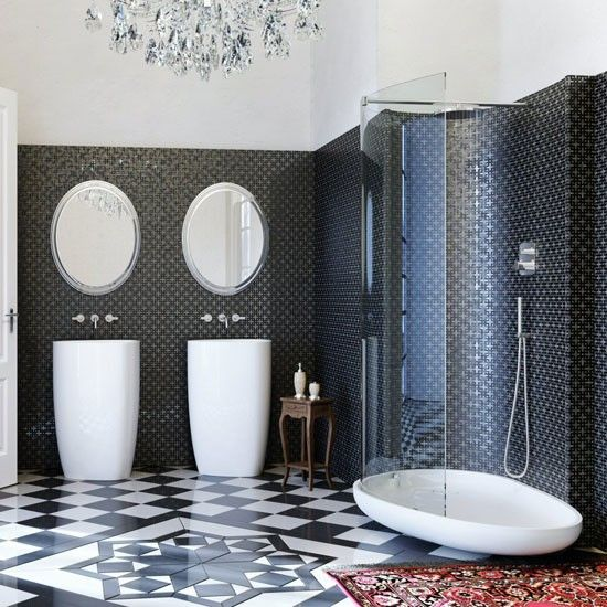Spacious black and white tiled bathroom | Bathroom | PHOTO GALLERY | Homes & Gardens | Housetohome.co.uk