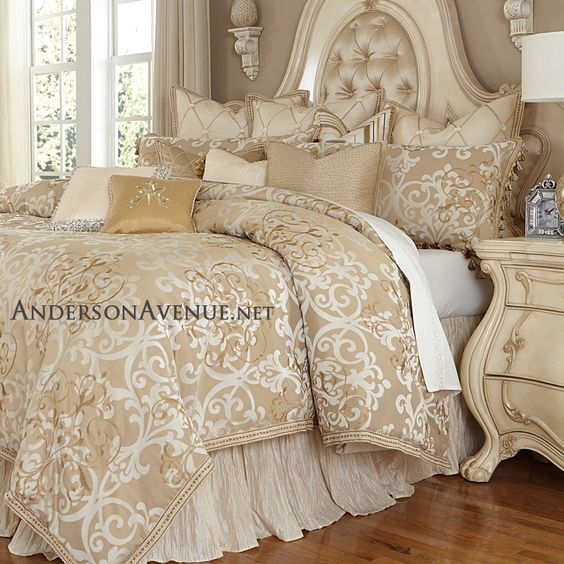 The Michael Amini Luxembourg bedding collection features a luxurious neutral palette and gorgeous designer details in the use of exquisite trims and fabrics.