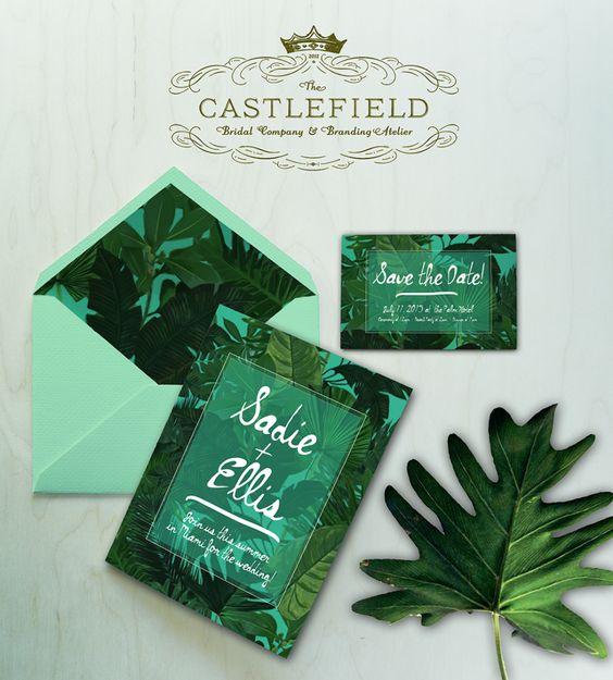 New Castlefield Green Tropical Leaf Wedding Invitation Set Castlefield Bridal Company