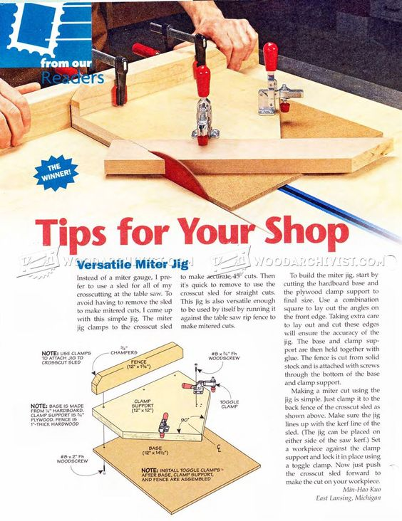 #1446 Versatile Miter Jig - Table Saw Tips, Jigs and Fixtures