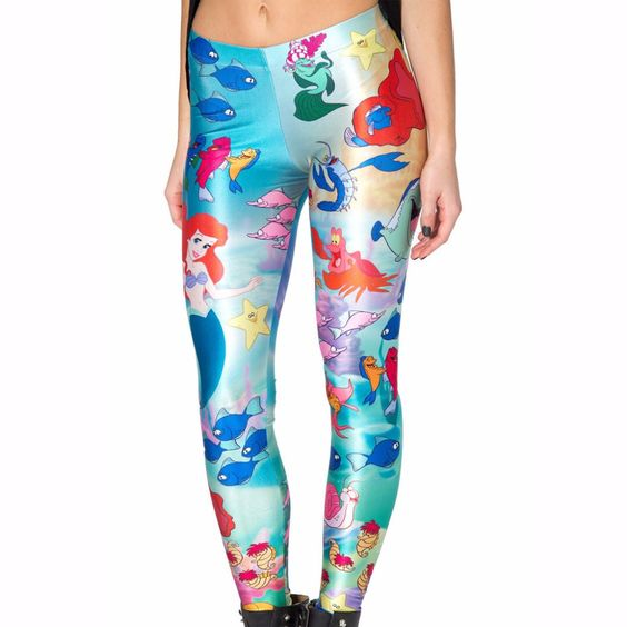New 3290 Sexy Girl Slim Ninth Pants Under The Sea Mermaid princess Printed Stretch Workout Fitness Women Leggings Plus Size-in Leggings from Women's Clothing & Accessories on Aliexpress.com | Alibaba Group