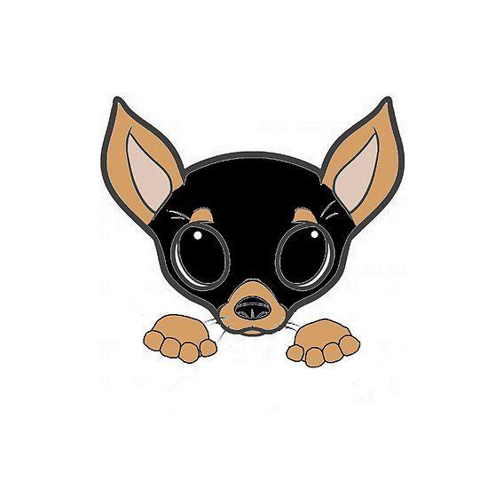 Chihuahua Black And Tan Peeking Cartoon Chihuahua Cartoon