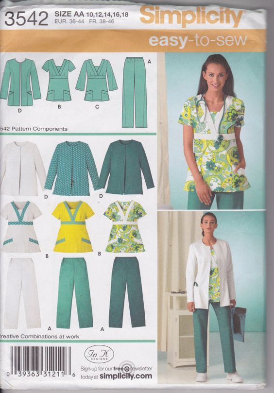 Simplicity 3542 Misses/ Womens Scrub Pants, Top and Jacket Sizes 10, 12, 14, 16, 18 Easy Pattern    Uncut paper pattern, factory folded.