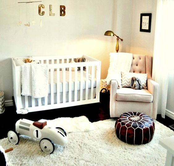 White #Nursery with Office-Inspired Floor Lamp