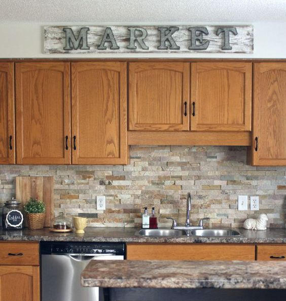 How to make a galvanized market sign stone backsplash for Kitchen ideas with oak cabinets