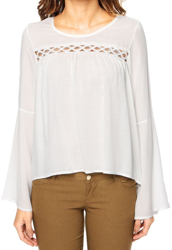 Blusa DAFITI JOY Bordado Off-white - Marca DAFITI JOY