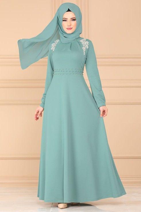 Modaselvim Elbise Gupur Ve Incili Elbise Pl866 Mint Basortusu Modasi Moda Stilleri Elbise
