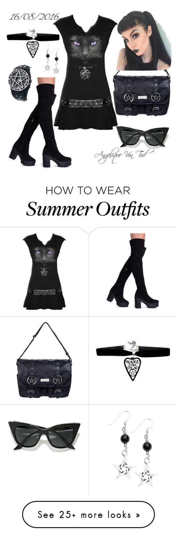 """""""Goth Summer Outfit"""" by angelique-von-tod on Polyvore featuring Killstar and LULUS"""
