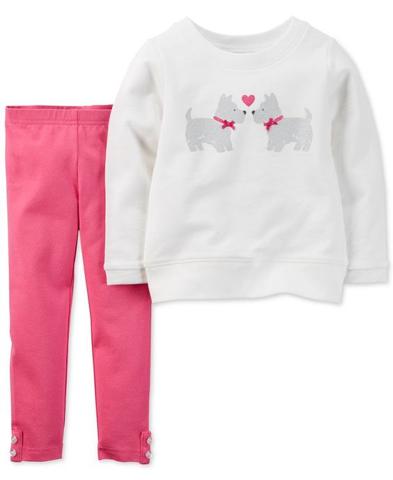 Carter's Baby Girls' 2-Piece Yorkie Dog Shirt & Pants Set