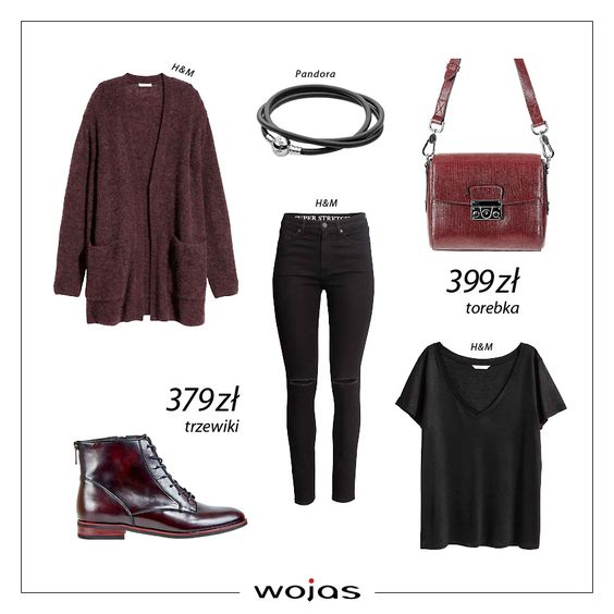 Burgund to najbardziej wyrazisty kolor sezonu! Luźny kardigan idealnie komponuje się z klasycznymi czarnymi jeansami i t-shirtem. W stylizacji nie może zabraknąć modnych trzewików Wojas (5666-55) oraz torebki (5886-55).