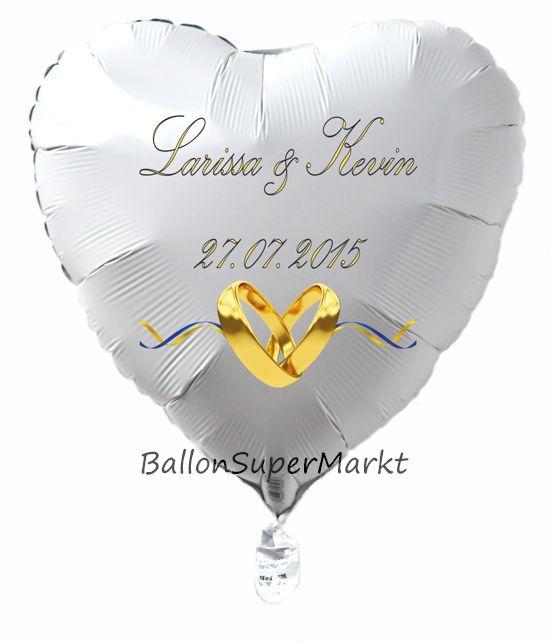 Herzballon Zur Hochzeit In Weiss Luftballon Mit Den Namen Des Brautpaares Und Dem Datum Der Hochzeit Brautpaar Ballons Hochzeit Luftballons Hochzeit