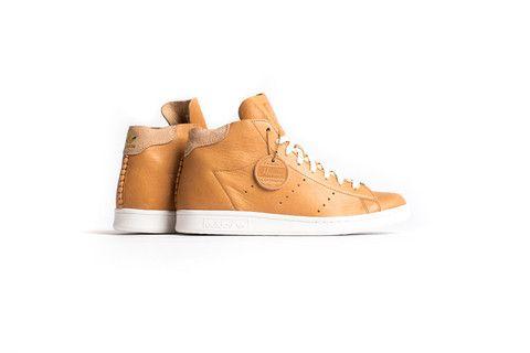 Adidas stan smith a metà horween pelle confezione marrone / bianco.