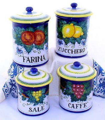 Majolica frutta canister set farina zucchero caffe for Porta zucchero caffe sale