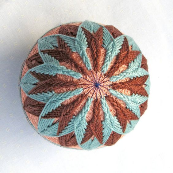 Japanese Temari Thread Ball Ornament Wrapped in by PennyFabricArt, $30.00
