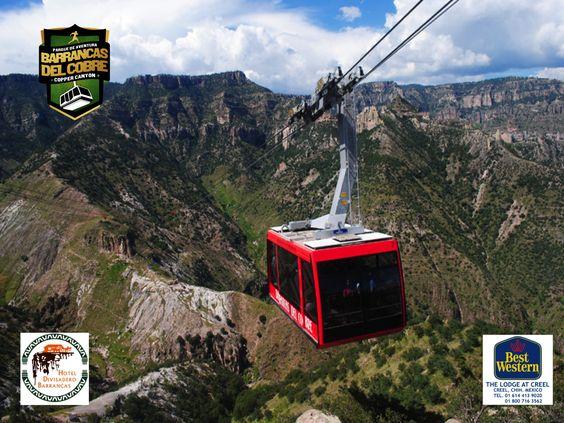 BARRANCAS DEL COBRE te dice. Al llegar al Parque de Aventura de Barrancas del Cobre,  hay muchas actividades que puedes hacer. Puedes empezar con el teleférico, que es el tercero más grande del mundo. Las cabinas tienen aire acondicionado, un equipo de seguridad y por supuesto, una vista hermosa. www.chihuahua.gob.mx/turismoweb