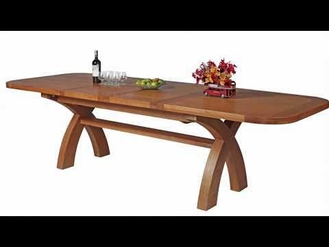 Country Oak 2 8m Double Extending Large Cross Leg Dining Table Large Dining Table Dining Table Dining Table Dimensions