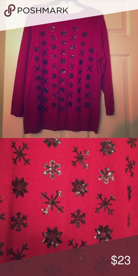 ❄️Talbots Red Holiday Sequence Sweater Red nylon/lambs wool sweater with sequence snowflakes Talbots Sweaters