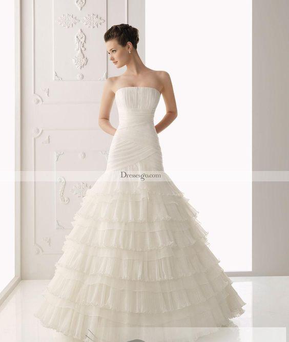 Elegante una línea de tren palabra de longitud capilla vestido de novia con gradas