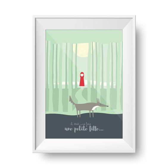 """Poster """"Il était une fois, une petite fille..."""" pour chambre d'enfant   Happy Corner Papeterie : Affiches, illustrations, posters par happycorner"""