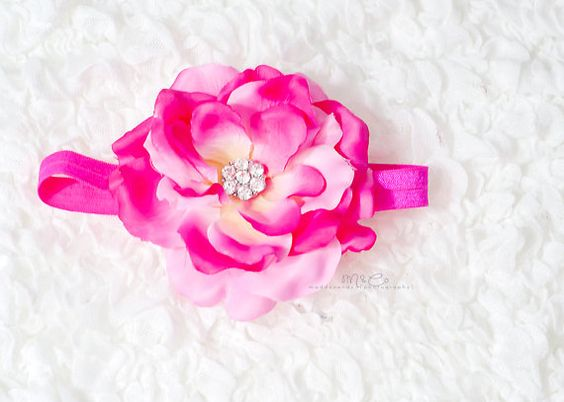 Spring Baby Headband Bright Pink Flower on by LittleMissBlingNYC, $9.95