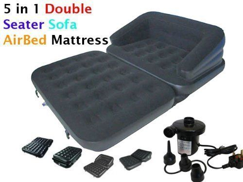 Tufted Sofa NEW IN INFLATABLE DOUBLE FLOCKED SOFA COUCH BED MATTRESS LOUNGER AIRBED BED Double Airbed Matresses Pinterest Sofa couch bed