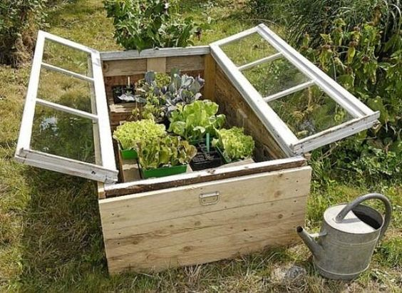 I love this raised bed using old windows as a cover! #recycle