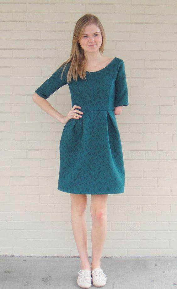 Blue-green brocade dress made by Mood Sewing Network blogger Haylee. #moodfabrics
