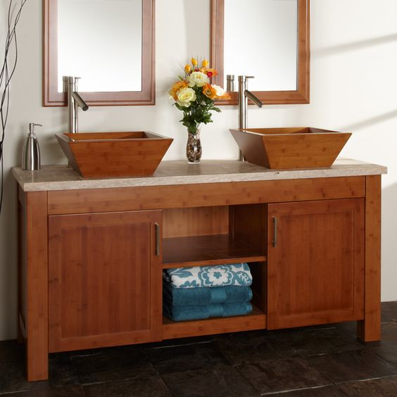 60 quot  Bashe Bamboo Double Vanity Cabinet with Travertine Top for Vessel Sinks Signature Hardware. 60 quot  Bashe Bamboo Double Vanity Cabinet with Travertine Top for