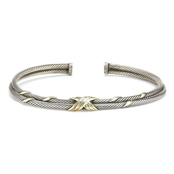 """Pre-Owned: David Yurman Sterling Silver & 14KY Double Cable \""""X\""""... ($1,500) ❤ liked on Polyvore featuring jewelry, multi, preowned jewelry, twist jewelry, 14 karat gold jewelry, cable jewelry and sterling silver jewellery"""