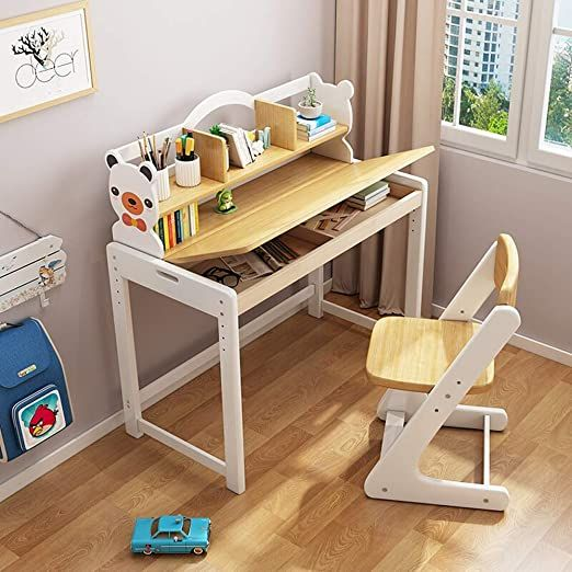 Lchao Furniture Student Learning Desk And Chair Set Children Study Table For Boys Girls Drawer Pencil Slot Kids In 2020 Kids Study Table Study Table Desk And Chair Set