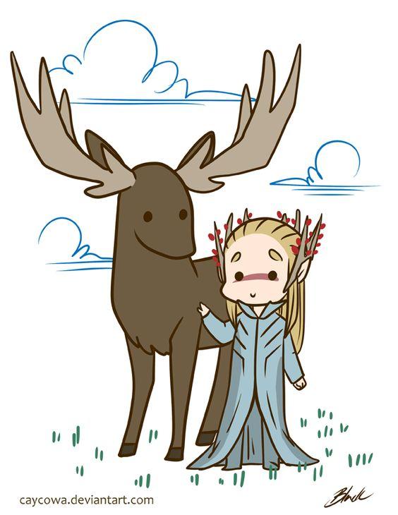 Hobbit - Thranduil and his elk by caycowa.deviantart.com on @DeviantArt