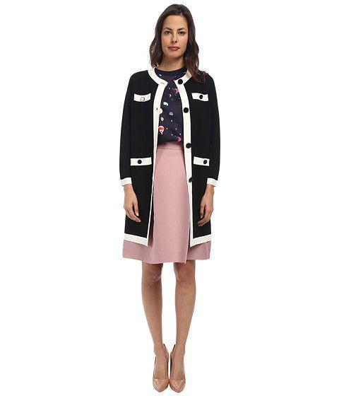 Kate Spade New York Color Block Scuba Coat Black/Cream - 6pm.com
