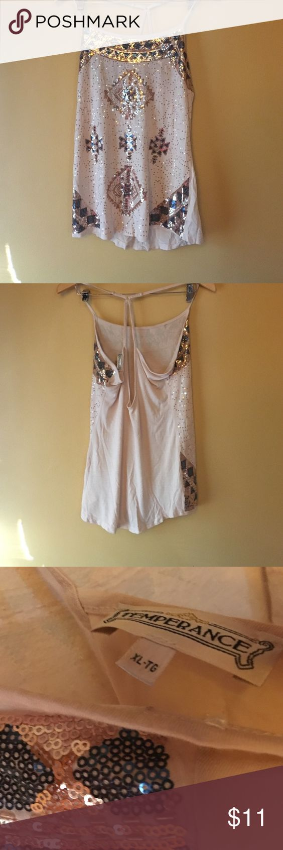 Cute tank top, XL Great condition, a little wrinkled from storage, all sequins appear in tact. Very cute & shiny! Thank you for looking and I will take more pictures if needed, let me know!  Temperance Tops Tank Tops