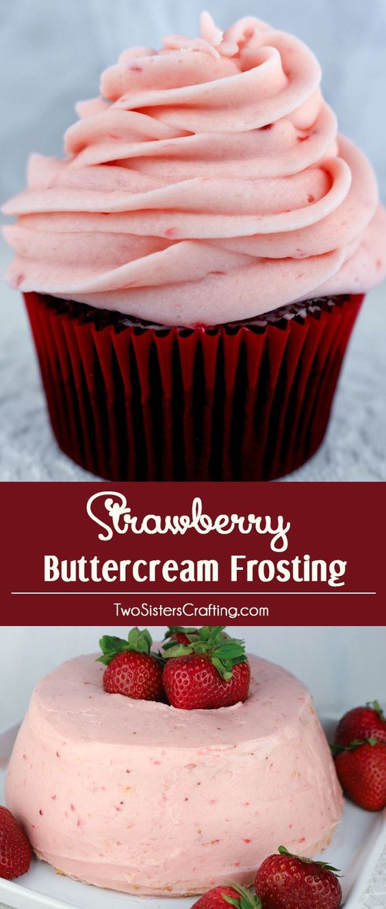 Homemade Strawberry Buttercream Frosting - never use store bought again. Teaming with fresh strawberries, this yummy Strawberry Frosting tastes amazing and is so easy to make. Especially good on angel food cake or chocolate cupcakes, it will make anything you put it on taste better!  Pin for later and follow us for more great Frosting recipes.