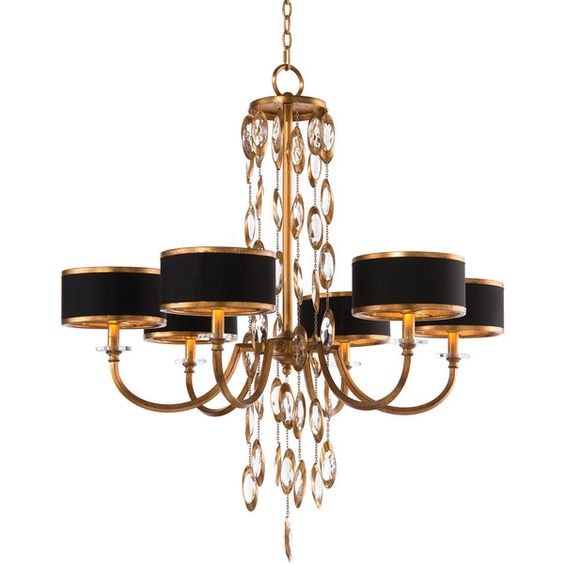 John-Richard Collection Black Tie Six-Light Chandelier (¥199,980) ❤ liked on Polyvore featuring home, lighting, ceiling lights, lamps, multi colors, john richard chandeliers, 6-light, multi color chandelier, 6 arm chandelier and hanging chain lamp