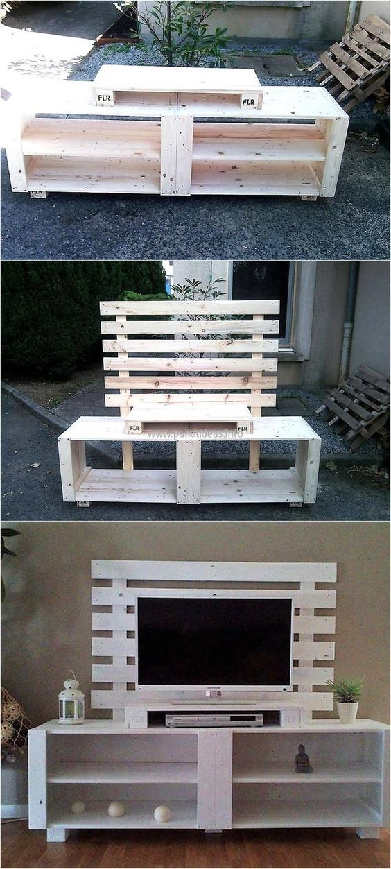 If you have pallets available at home, then don't rush to the store to get the TV cabinet for the new home. Use the recycled wood pallets to create a TV cabinet like the one presented as it is simple to create and it looks amazing. #easypalletprojects #beginnerwoodworking #easywoodworkingtutorials #woodworkingtutorials #DIYprojects #easyDIYprojects #diyhomedecor #diyfurniture