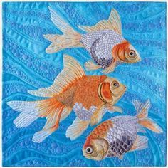 """Fancy Goldfish"" Copyright 2015 by Susan Brubaker Knapp. 16"" x 16"". White fabric, acrylic paint, cotton thread, cotton batting. Wholecloth painted, free-motion quilted."