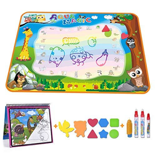 Aqua Magic Doodle Mat Large Water Drawing Mat For Kids Gifts Educational Toy Toddler Painting Board With Water Coloring Book 3 Magic Pens 1 Magic Brush And St Toddler Painting Coloring
