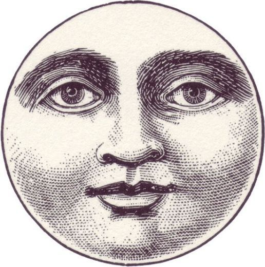 free,vintage,illustration,moon,face in 2019