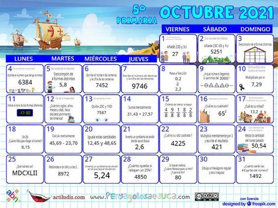 Calendario Quinto ABN – Octubre 2021