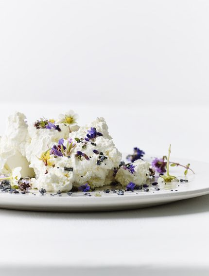 Homemade fresh cheese with flowers and black salt | We You They Ate
