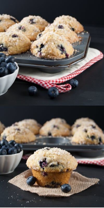 A buttery, soft and fluffy muffin that's loaded with juicy blueberries and topped with a crunchy sweet cinnamon streusel on a sky-high muffin top. BEST blueberry muffin EVER. You must try this recipe! via @littlesweetbaker
